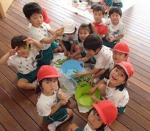 畑で野菜の収穫体験など幼児期だからこそ土に触れることも大切にしている幼稚園